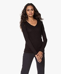 Skin Cotton V-neck Long Sleeve - Black