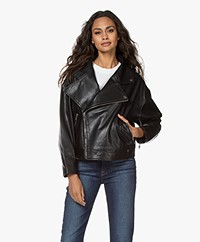 ba&sh Keith Oversized Leather Biker Jacket - Black