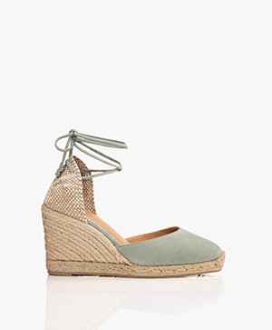 Castaner Carina Suede Leather Wedge Espadrilles - Verde Menta
