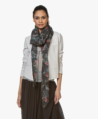Drykorn  Shield Linen Blend Scarf with Floral Print - Black