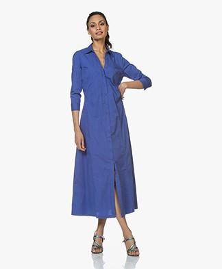 no man's land Poplin Maxi Shirt Dress - Royal Blue