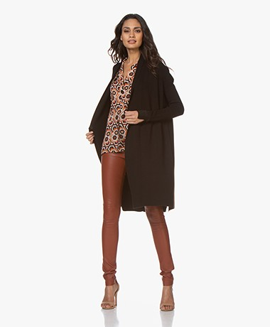 LaSalle Long Open Cardigan from Soy Beans with Lurex Detailing - Black