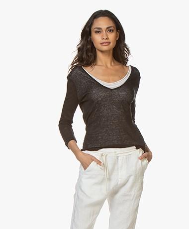 Majestic Filatures Double-layered V-Neck T-shirt - Black/White
