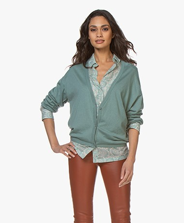 Marie Sixtine Mauranne V-neck Button-through Cardigan - Sage