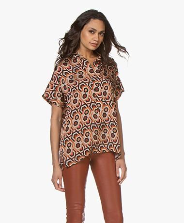 LaSalle Satin Printed Short Sleeve Blouse - Marrakesh