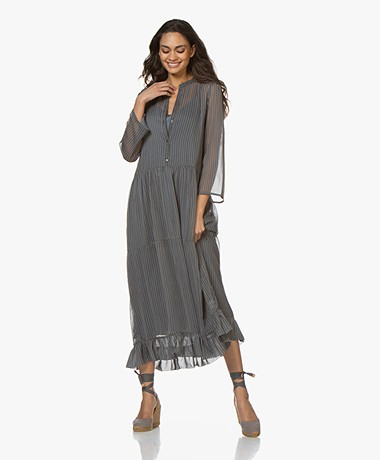 by-bar Bloom Chiffon Ruffle Dress - Smoke Blue