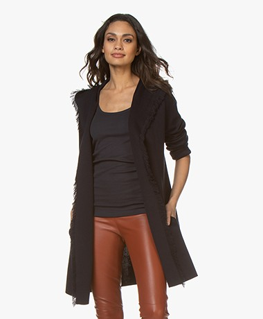 Repeat Hooded Open Cardigan with Fringes - Navy