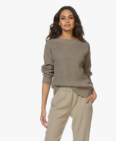 Repeat Cotton Boat Neck Rib Sweater - Khaki