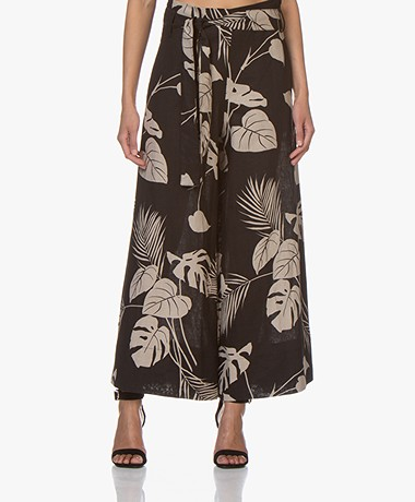 LaSalle Linen Mix Printed Pants  - Black/Beige