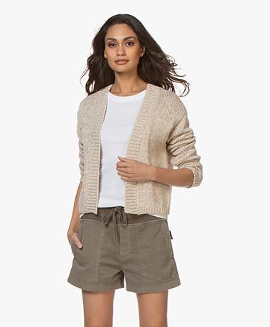 no man's land Short Cotton Cardigan - Linen