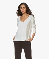 Josephine & Co Brooklyn Tencel Mix V-hals Trui - Wit