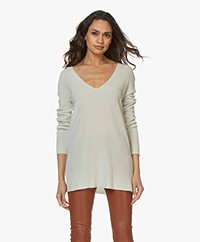 Josephine & Co Bianka Tencel Blend V-neck Sweater - Stone