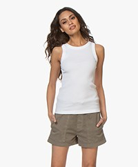 Drykorn Olina Cotton Rib Jersey Tank Top - White