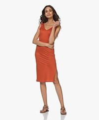 Majestic Filatures Linen Jersey V-neck Dress - Terra