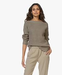Repeat Cotton Boat Neck Rib Sweater - Khaki