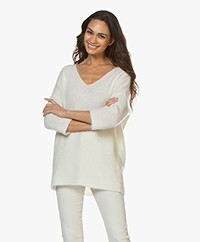 no man's land V-neck Sweater with Mohair - Ivory