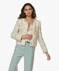 IRO Mercie Boucle Blazer Jacket - Ecru/Grey