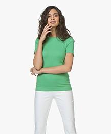 By Malene Birger Clotilde Rib Jersey T-shirt - Greenbiar