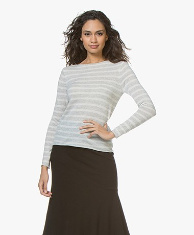 BOSS Wabandy Fine Knit Cashmere Sweater - Silver
