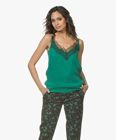 Drykorn Letitia Cupro Camisole with Lace - Green