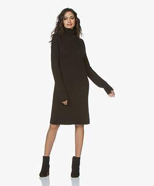 Drykorn Arwenia Rib Knit Turtleneck Dress - Black