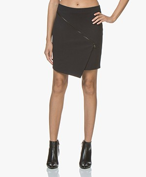 Woman By Earn Bella Jersey Skirt with Zipper Detail - Navy