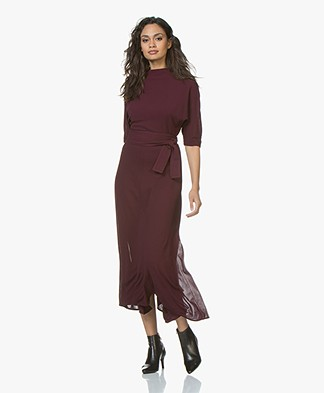 BOSS Eodora Short Sleeve Midi Dress - Burgundy