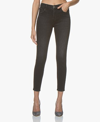 Current/Elliott The High Waist Stiletto Skinny Jeans - Black 1 Yearn Worn