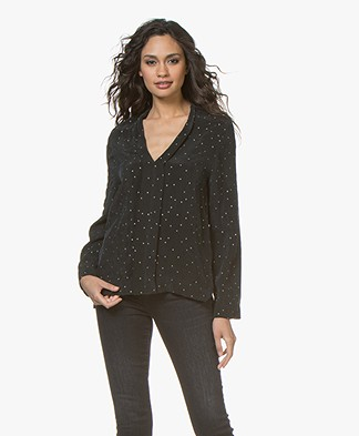 Drykorn Lin Cupro Blouse with Dessin - Black