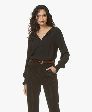 no man's land Crepe Blouse - Core Black