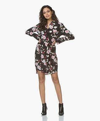 Equipment Clea Printed Silk Dress - Black
