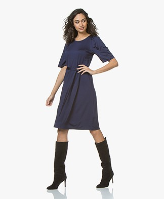 Filippa K Tie Waist Pleat Dress - Ink