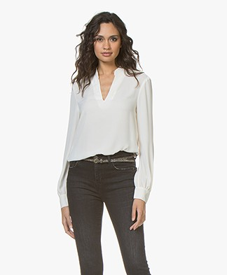 Filippa K V-neck Chiffon Blouse - Off-white