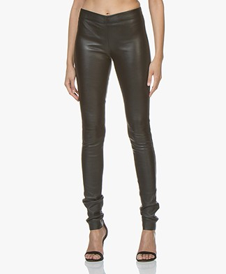 Joseph Leather Stretch Leggings - Black