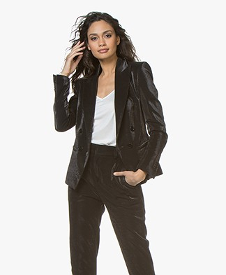 Drykorn Hervey Lurex Double-breasted Blazer - Zwart