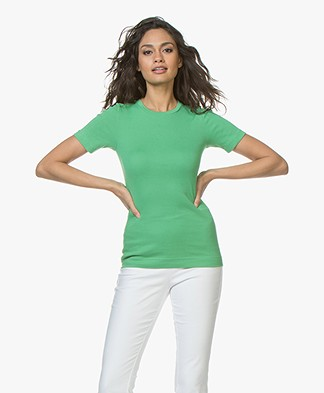 By Malene Birger Clotilde Rib Jersey T-shirt - Greenbriar