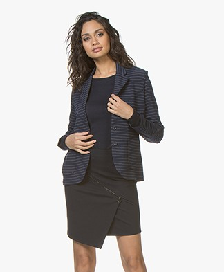 Majestic Filatures Soft Touch Jersey Striped Blazer - Marine/Denim