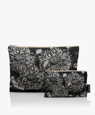 VanillaFly Velours Make-up Bag Set - Sunflower Black and White