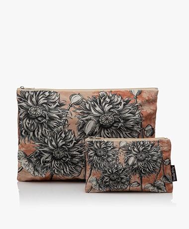 VanillaFly Velours Make-up Bag Set - Sunflower Orange