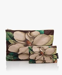VanillaFly Velours Make-up Bag Set - Off-white Flower