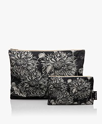 VanillaFly Velvet Makeup Bag & Pouch - Sunflower Black and White