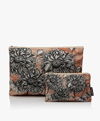 VanillaFly Velvet Makeup Bag & Pouch - Sunflower Orange