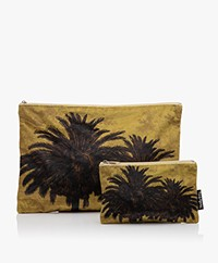 VanillaFly Velours Make-up Bag Set - Yellow Palm Tree
