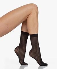 Wolford Hilaritas 30 Denier Striped Socks - Black