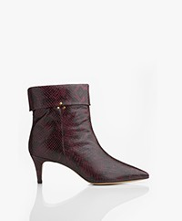 Jerome Dreyfuss Annie Embossed Snake Print Ankle Boots - Bordeaux