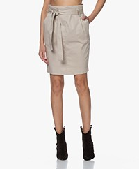 Woman By Earn Moma Stretch Cotton Paperbag Skirt - Sand