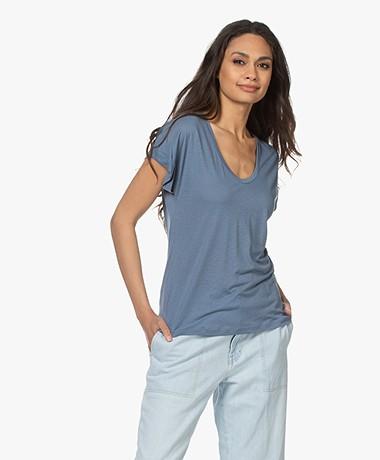 Closed Lyocell Mix U-hals T-shirt - Commodore Blue