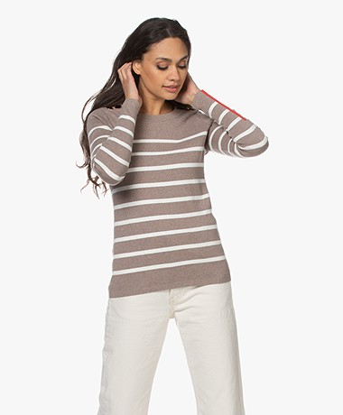Plein Publique L'Elisa Striped Pullover with Silk - Taupe/White