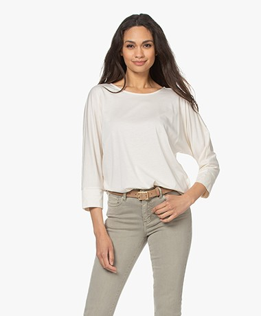 Repeat Lyocell and Cotton T-shirt with Cropped Sleeves - Ivory