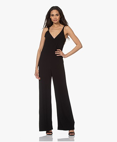 ba&sh Fasme Viscose Crepe Jumpsuit - Black